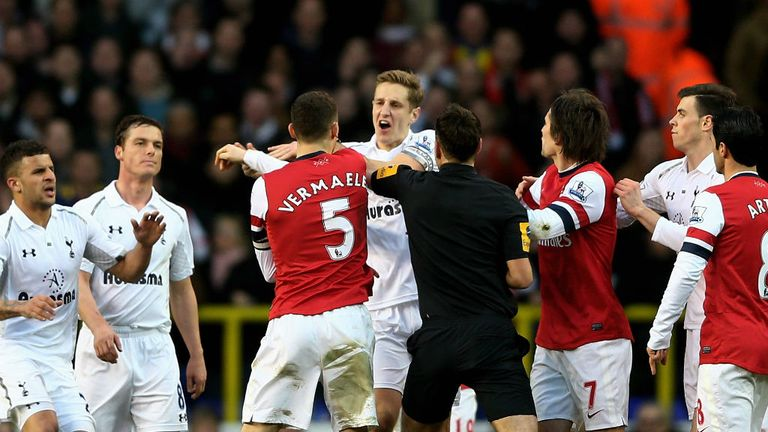 Michael Dawson: The Spurs captain was involved in an altercation with opposition skipper Thomas Vermaelen