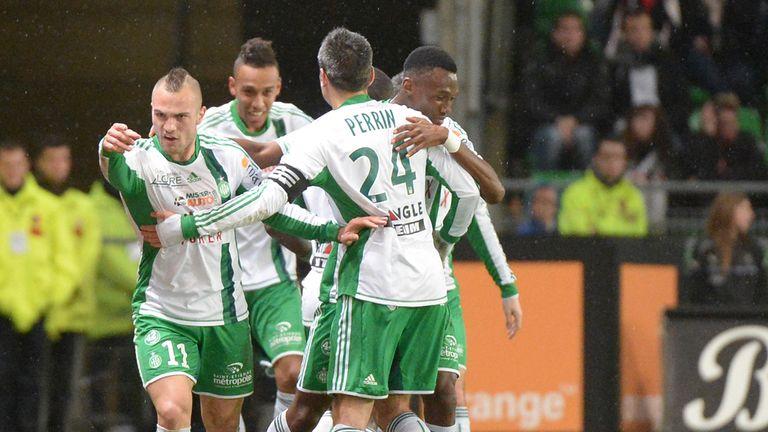 St Etienne celebrate Yohan Mollo's goal
