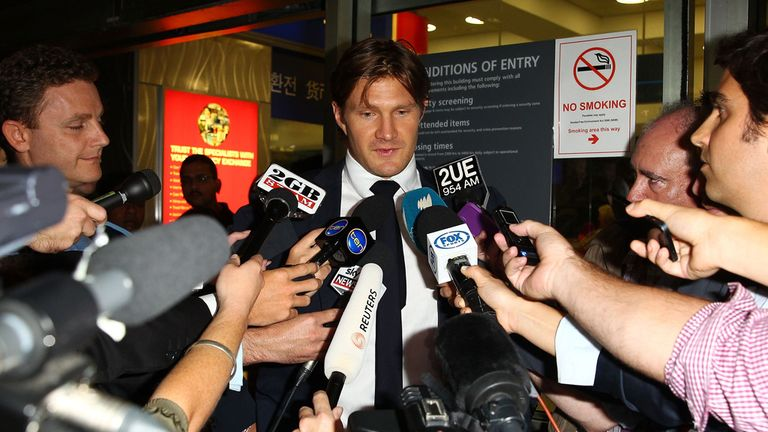 Shane Watson faces the media on his return from India