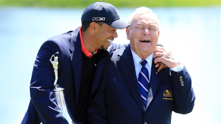 Tiger Woods celebrates at Bay Hill with the legendary Arnold Palmer