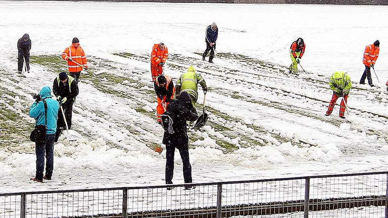 The game at Windsor Park could not go ahead despite the efforts of the staff