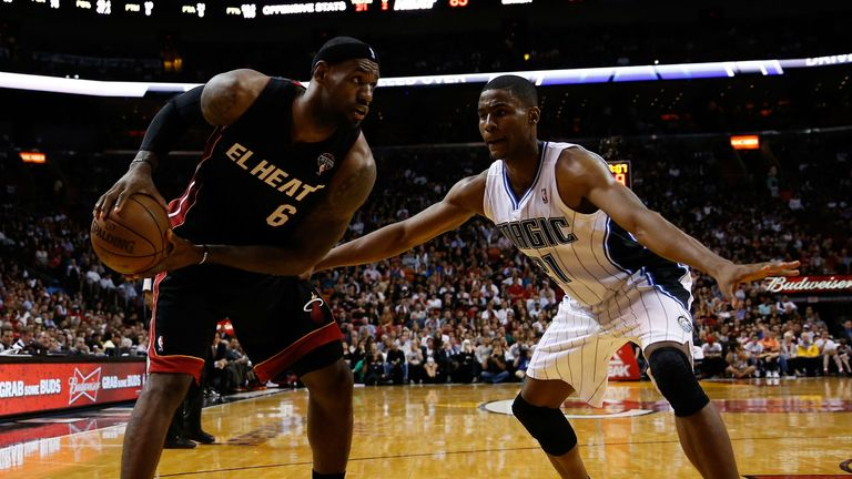 LeBron James is guarded by Moe Harkless