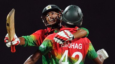 Nasir Hossain and Sohag Gazi celebrate a famous win