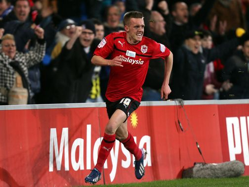 Craig Noone celebrates his equaliser for Cardiff