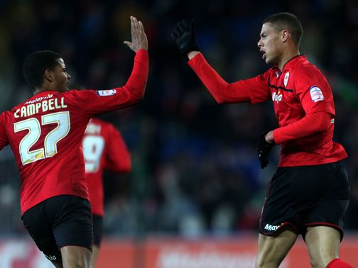 Rudy Gestede celebrates his goal with Fraizer Campbell