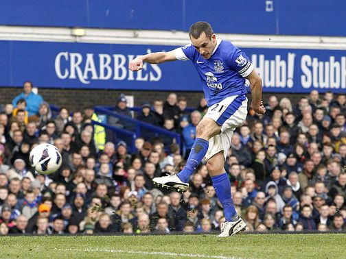 Leon Osman scores the opening goal for Everton
