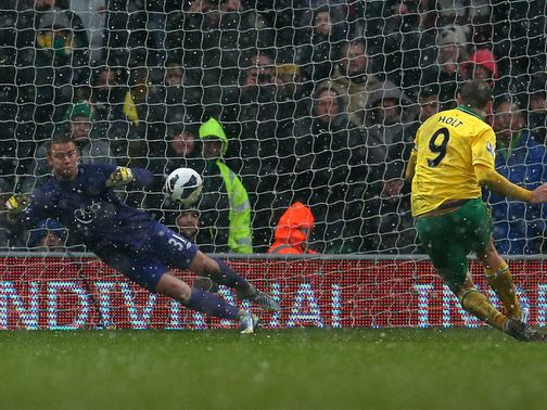 Artur Boruc saves Grant Holt's penalty on Saturday