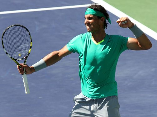 Rafael Nadal celebrates his semi-final success