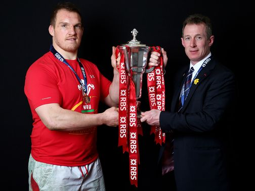 Gethin Jenkins and Rob Howley with the Six Nations trophy