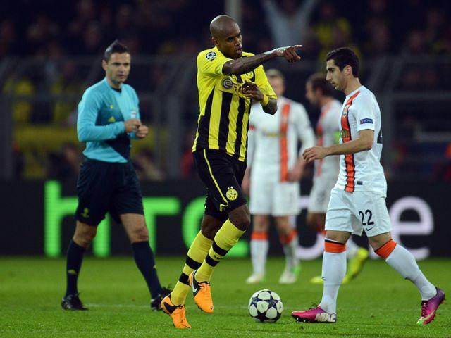 Felipe Santana celebrates scoring Dortmund's opening goal