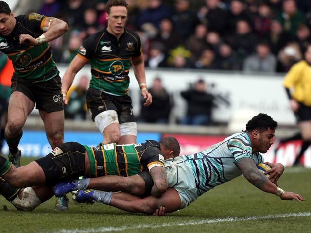 Manu Tuilagi goes in for a Leicester try
