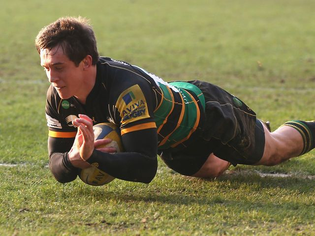 Jamie Elliott scored a hat-trick of tries for Northampton