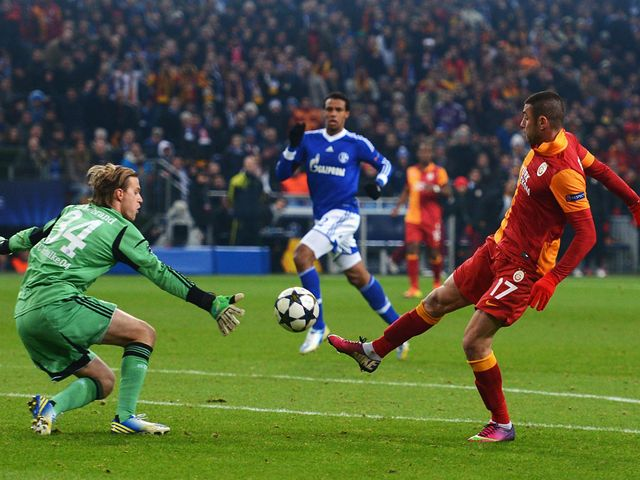 Burak Yilmaz scores Galatasaray's second goal on the night