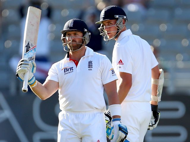 Matt Prior celebrates his century as he steered England to an unlikely draw