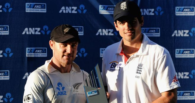 Brendon McCullum and Alastair Cook: Share the ANZ trophy
