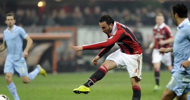 Giampaolo Pazzini scored two goals for AC Milan