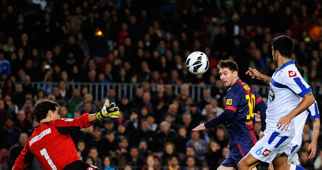 Lionel Messi scores for Barcelona.