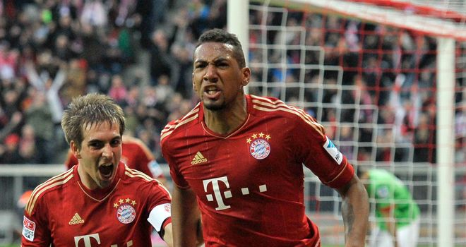 Jerome Boateng celebrates hsi first goal for Bayern Munich