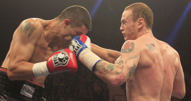 George Groves (right) on his way to a third-round stoppage (pic: Lawrence Lustig)