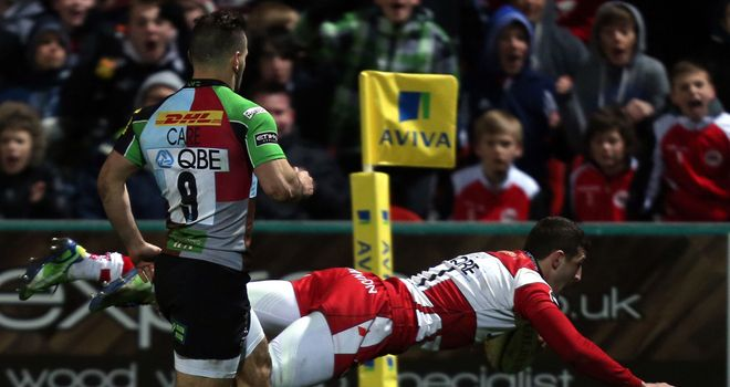 Jonny May: Dives in to score for Gloucester