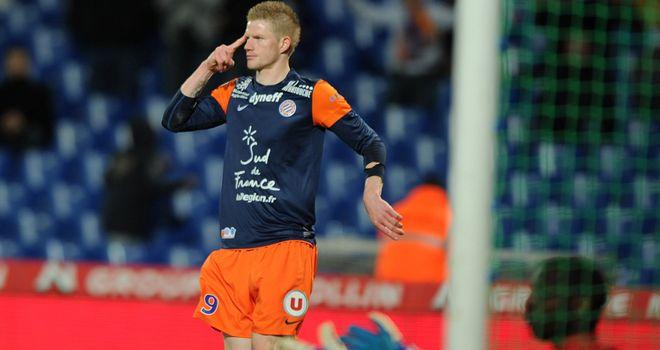 Gaetan Charbonnier celebrates his Montpellier goal