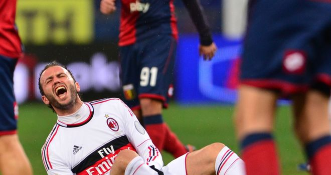 Giampaolo Pazzini: The Milan striker suffered an ankle injury against Genoa