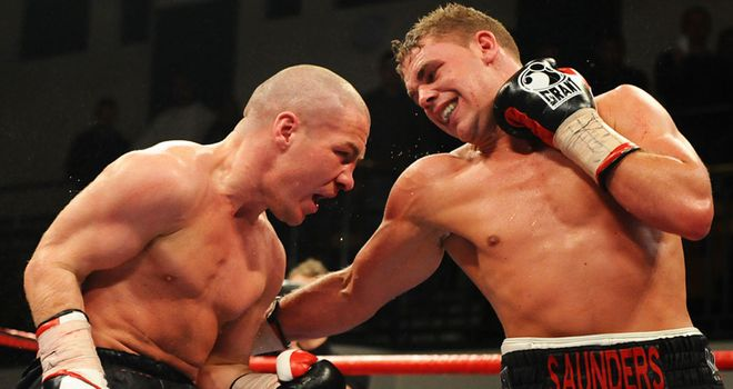 Billy Joe Saunders (r): Hurt Matthew Hall with body shots (pic courtesy of www.leighdawneyphotography.com).