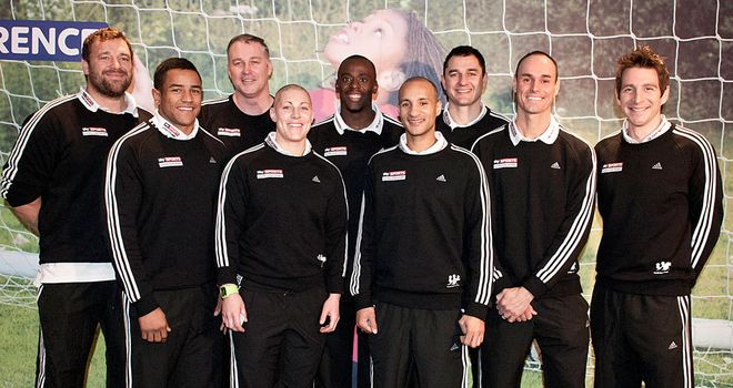 Thinus Delport (third from right) is one of a growing group of Sky Sports Living for Sport Athlete Mentors