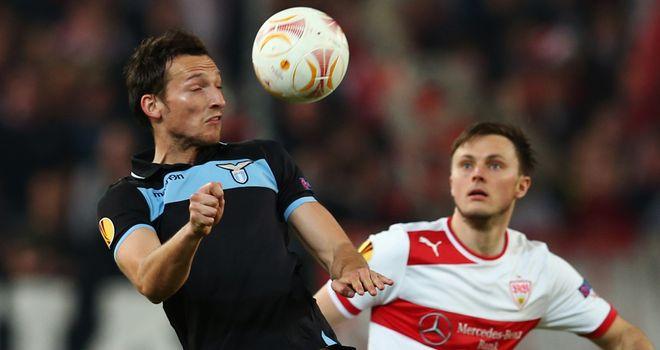 Libor Kozak and William Kvist battle for the ball