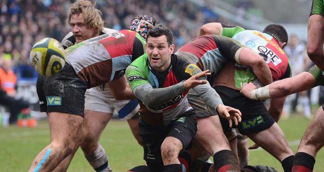 Karl Dickson: Harlequins scrum-half in action against Bath