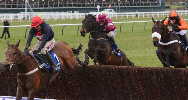 Long Run (right) jumps the last in third behind Bobs Worth in last week's Gold Cup