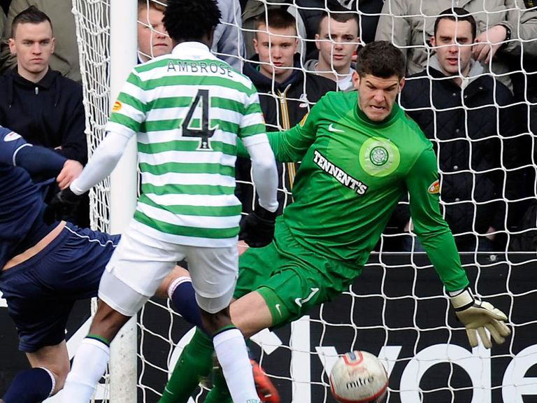 Fraser Forster in action in Dingwall