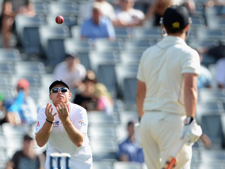 Ian Bell takes a simple catch after a Rutherford error