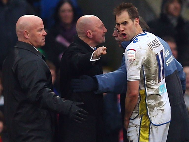Ian Holloway confronts Leeds forward Luke Varney