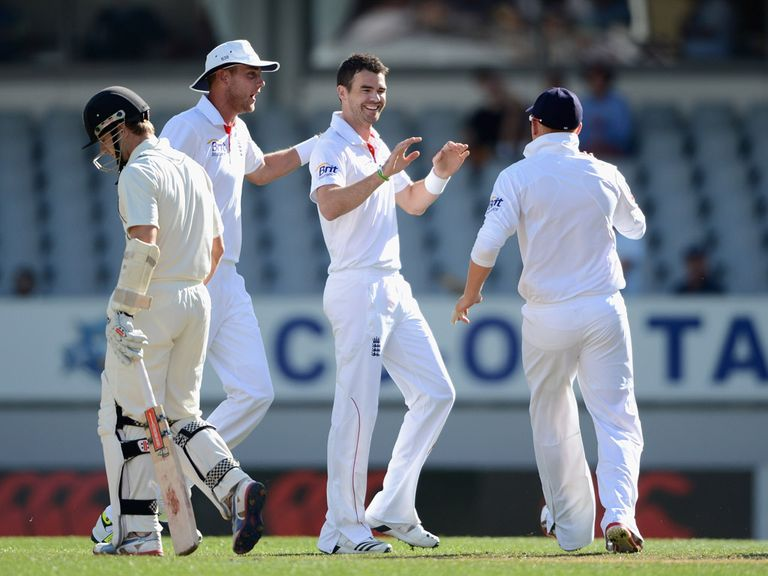 James Anderson celebrates removing Kane Williamson
