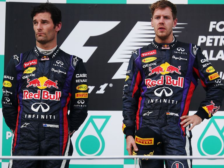 Vettel (r): Saw off team-mate Webber in controversial circumstances