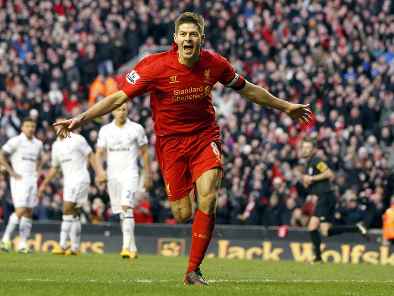 Steven Gerrard celebrates his goal against Spurs
