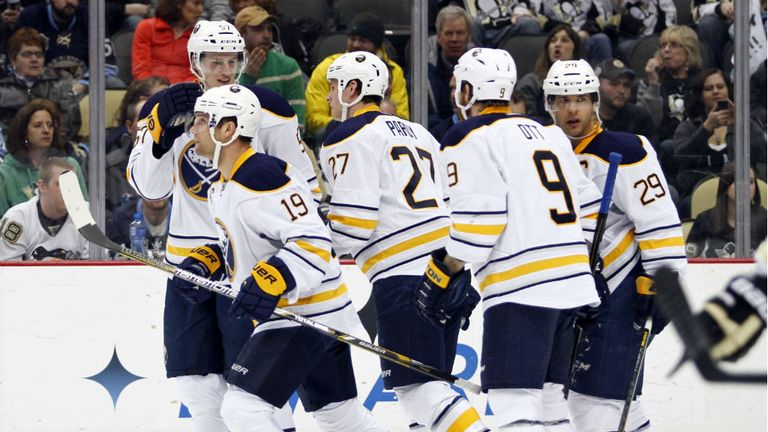 Buffalo Sabres celebrate during their 4-1 win over the Pittsburgh Penguins