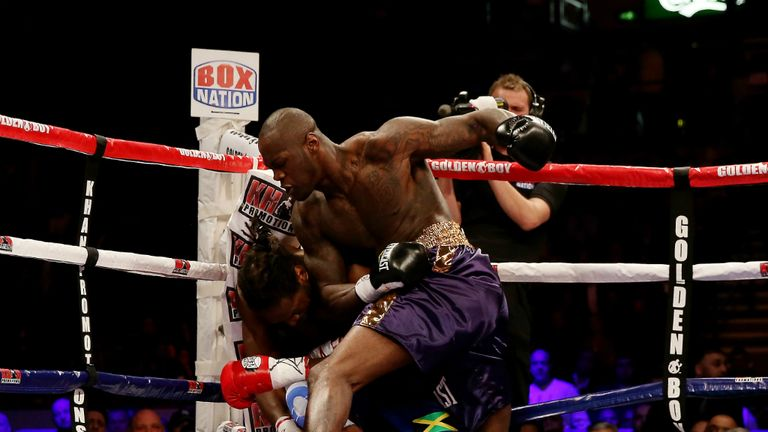 Audley Harrison on the end of an onslaught from Deontay Wilder