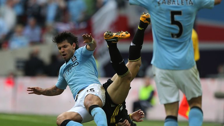 Sergio Aguero and David Luiz: Tussled in the final 10 minutes