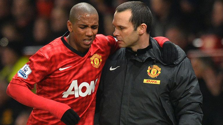 Ashley Young: Injured his ankle during the second half at Old Trafford