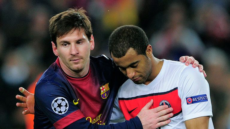 Lionel Messi (left): Barcelona star won't be joining Lucas Moura at PSG