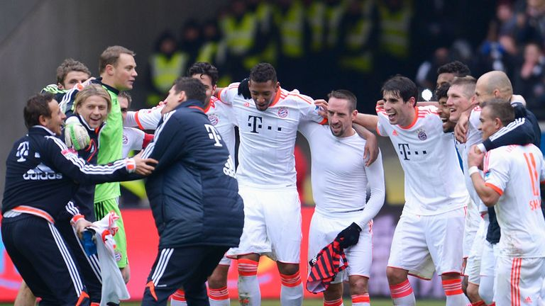 Bayern Munich celebrate winning their 23rd Bundesliga title