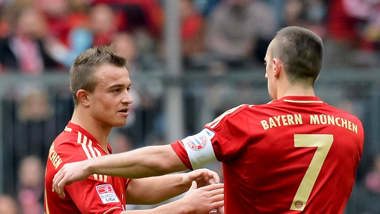 Bayern Munich: Shaqiri and Ribery celebrate