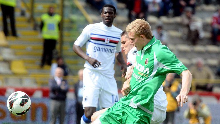 Frederik Sorensen makes a tackle