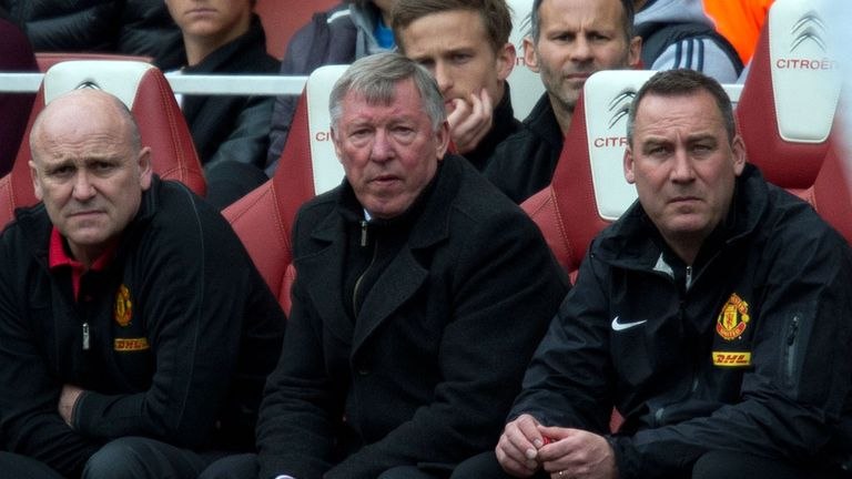 Sir Alex Ferguson with his chief coaching aides at Old Trafford