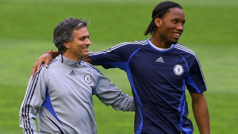 Didier Drogba (left) believes Jose Mourinho turned him into a great player