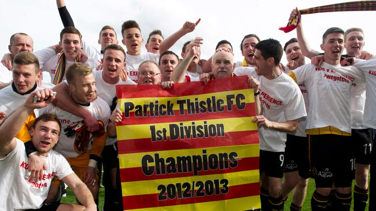 Partick Thistle celebrate promotion to SPL - they start with a clash against Dundee United