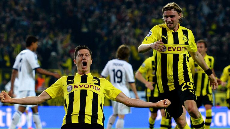 Robert Lewandowski scored four goals in the first leg