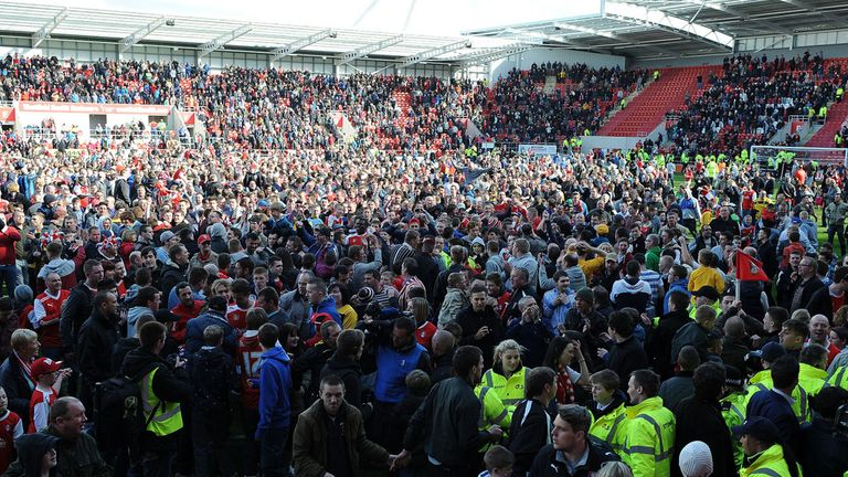 Rotherham fans: Celebrating their promotion